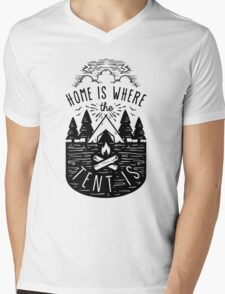 Home Is Where The Tent Is Mens V-Neck T-Shirt