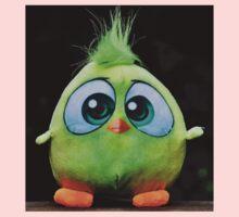 Funny Cute Big Eyed Fluffy Green Bird One Piece - Long Sleeve