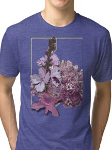 Bee on pink flowers Tri-blend T-Shirt
