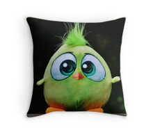 Funny Cute Big Eyed Fluffy Green Bird Throw Pillow