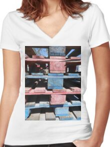 Red, blue, black, urban Women's Fitted V-Neck T-Shirt
