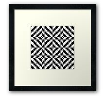Optical illusion pattern with black and white squares Framed Print