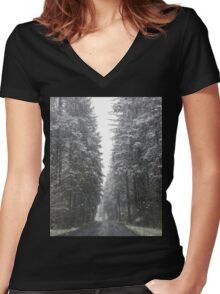 Breathtaking Snowy Forest  Women's Fitted V-Neck T-Shirt