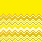 Trendy Chevron Aureolin Cobalt Yellow Zigzag Pattern by Beverly Claire Kaiya