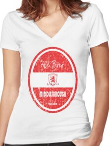EPL 2016 - Football - Middlesbrough (Distressed) Women's Fitted V-Neck T-Shirt