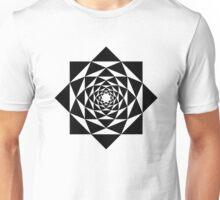 Black and white geometric flower mandala Unisex T-Shirt