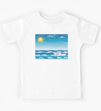 Paper Boat in the Sea Kids Tee