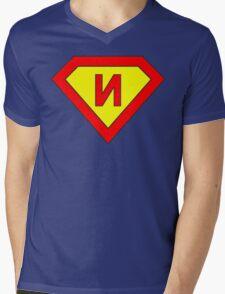 Superman alphabet letter Mens V-Neck T-Shirt
