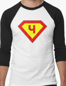 Superman alphabet letter Men's Baseball ¾ T-Shirt