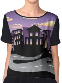 Sunset City and Road Silhouette 3 Chiffon Top