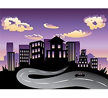 Sunset City and Road Silhouette 3 Photographic Print