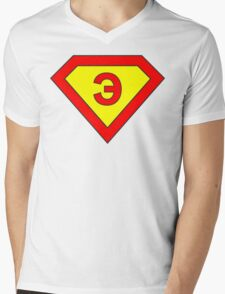 Superman alphabet letter Mens V-Neck T-Shirt