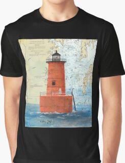 Bloody Pt Bar Lighthouse MD Nautical Chart Peek Graphic T-Shirt