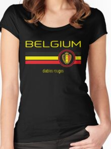 Euro 2016 Football - Belgium (Away Black) Women's Fitted Scoop T-Shirt
