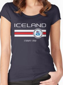 Euro 2016 Football - Iceland (Home Blue) Women's Fitted Scoop T-Shirt