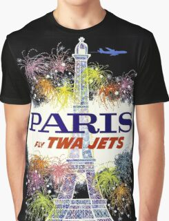 """TWA"" Fly to Paris Advertising Print Graphic T-Shirt"