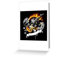 Black background with a guitar Greeting Card