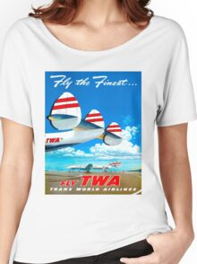"""TWA AIRLINES"" Travel Advertising Print Women's Relaxed Fit T-Shirt"