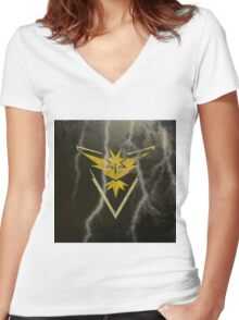 Pokemon Go - Team Instinct (lightning square) Women's Fitted V-Neck T-Shirt