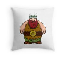 Wikinger, viking, olaf, bart, beard, danger, bellt, gürtel, cap, hat, grim, grimly, big,  fat, strong, helm, helmet, nordisch, north, horn Throw Pillow