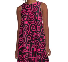 Abstract 040512 - Neon Red A-Line Dress
