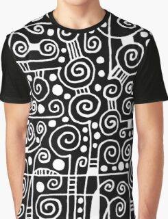 Abstract 040512 - White on Black Graphic T-Shirt