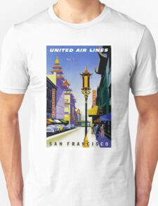 """UNITED AIR LINES"" Fly to San Francisco Advertising Print Unisex T-Shirt"