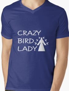 CRAZY BIRD LADY Mens V-Neck T-Shirt