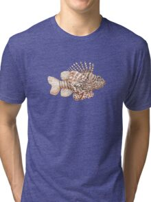 Lionfish illustration, pen and ink Tri-blend T-Shirt
