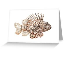 Lionfish illustration, pen and ink Greeting Card