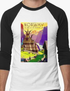 """NORWAY"" Land of Midnight Sun Advertising Print Men's Baseball ¾ T-Shirt"