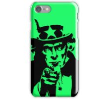 Black Silhouette Uncle Sam I Want You on Neon Green iPhone Case/Skin