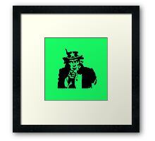 Black Silhouette Uncle Sam I Want You on Neon Green Framed Print