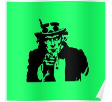 Black Silhouette Uncle Sam I Want You on Neon Green Poster