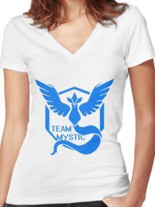Team Mystic Symbol (Large) Women's Fitted V-Neck T-Shirt