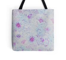 Blue Abstract Floral Pattern Tote Bag