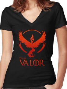 Pokemon Go: Team Valor Women's Fitted V-Neck T-Shirt