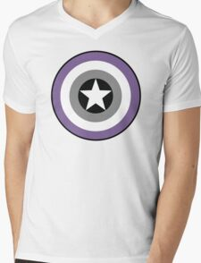 Asexual Flag Cap Shield Mens V-Neck T-Shirt