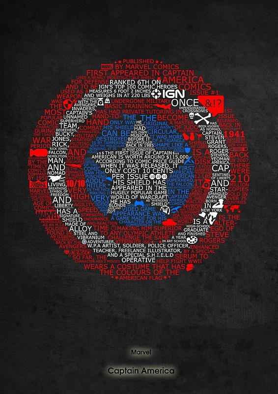Marvel Captain America Shield Typography  by Ingleburt