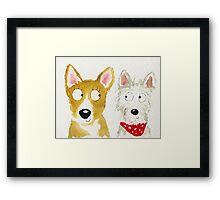 Sian The Corgi And Teddy The Westie Framed Print