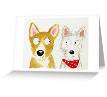 Sian The Corgi And Teddy The Westie Greeting Card