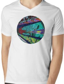 Turquoise Sun Mens V-Neck T-Shirt