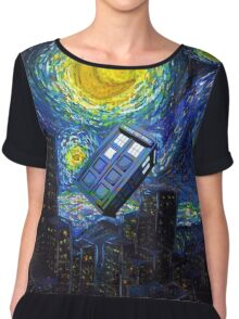 tardis the starry night Chiffon Top