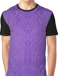 Purple Tones Suade Leather Embossed Floral Pattern Graphic T-Shirt