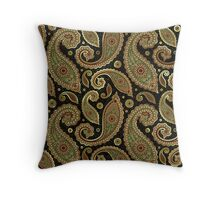 Pastel Brown Tones Vintage Paisley With Touch Of Gold Throw Pillow