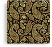 Pastel Brown Tones Vintage Paisley With Touch Of Gold Canvas Print