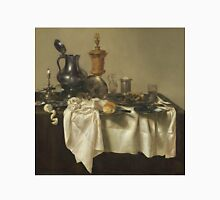 Willem Claesz Heda - Banquet Piece With Mince Pie 1635 . Still life with fruits and vegetables: fruit, Lemon , glass of wine, tasty, gastronomy food, flowers, dish, cooking, kitchen, vase Unisex T-Shirt