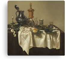 Willem Claesz Heda - Banquet Piece With Mince Pie 1635 . Still life with fruits and vegetables: fruit, Lemon , glass of wine, tasty, gastronomy food, flowers, dish, cooking, kitchen, vase Canvas Print