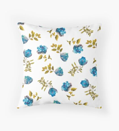Blue, Green, and White Painted Floral Pattern Throw Pillow