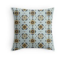 Blue and Gold Moroccan-Inspired Pattern Throw Pillow